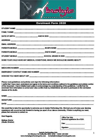 2020 Dance Enrolment Form