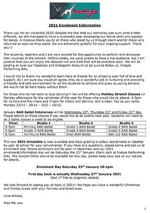 2021 Dance Class Enrolment Information